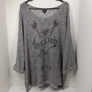 torrid Oversize Knit Top w Love & Fate Graphics 3X